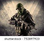 portrait of a dangerous masked... | Shutterstock . vector #752897923