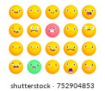 set of circle emoji. smile... | Shutterstock .eps vector #752904853