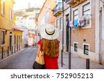 woman tourist walking back on... | Shutterstock . vector #752905213