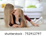 beautiful mom and daughter at... | Shutterstock . vector #752912797