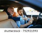 senior business man sitting in... | Shutterstock . vector #752921593
