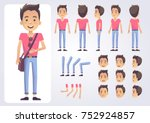 happy student character with... | Shutterstock .eps vector #752924857