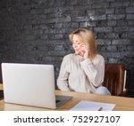 beautiful businesswoman talking ... | Shutterstock . vector #752927107