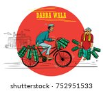 dabba wala with cycle... | Shutterstock .eps vector #752951533