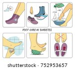 foot care in diabetes | Shutterstock .eps vector #752953657