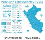 peru map   detailed info... | Shutterstock .eps vector #752958067