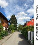 suburban street with green... | Shutterstock . vector #752979403