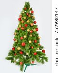 decorated christmas tree   card ... | Shutterstock . vector #752980147