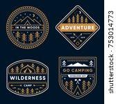 Set of 4 tree line art camp badges   Shutterstock vector #753014773