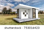 modern white tiny house... | Shutterstock . vector #753016423