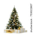 Small photo of Decorated gold Christmas tree with golden patchwork ornament artificial balls and gift presents for new year isolated on white background