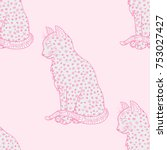 cat. seamless pattern.... | Shutterstock .eps vector #753027427