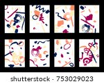 set of 8 greeting cards on... | Shutterstock .eps vector #753029023