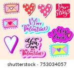 valentine s day lettering set | Shutterstock .eps vector #753034057