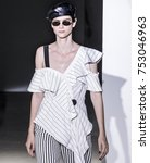 Small photo of NEW YORK, NY - September 09, 2017: Amandine Renard walks the runway at the Self-Portrait Spring Summer 2018 fashion show during New York Fashion Week