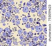 seamless pattern summer bouquet | Shutterstock . vector #753059623