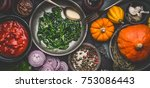 healthy vegetarian cooking... | Shutterstock . vector #753086443