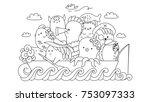 cute monster gangster on the... | Shutterstock .eps vector #753097333
