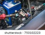 the hands of the mechanic... | Shutterstock . vector #753102223