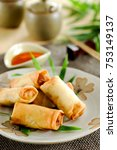 fried chinese spring rolls with ...   Shutterstock . vector #753149137
