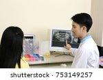 dentist conversation patient...   Shutterstock . vector #753149257