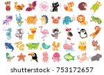 Stock vector vector illustration of cute animals and birds set rhinoceros starfish unicorn sheep panther 753172657