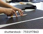 female hands matching checkered ... | Shutterstock . vector #753197863