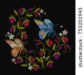 butterflies  berries and...   Shutterstock .eps vector #753201943