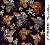 butterflies and flowers...   Shutterstock .eps vector #753203077