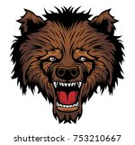 angry brown bear head mascot.... | Shutterstock .eps vector #753210667