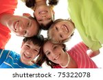 happy children in family circle ... | Shutterstock . vector #75322078