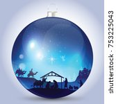 christmas ball with nativity... | Shutterstock .eps vector #753225043