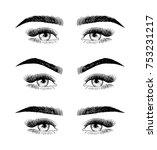 eyebrow shaping for women face...   Shutterstock .eps vector #753231217
