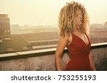 woman portrait with beautiful... | Shutterstock . vector #753255193
