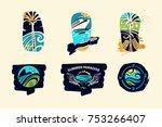set of template logo  logotype ...   Shutterstock .eps vector #753266407