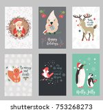 set of holiday postcards with...