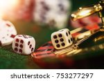 vintage casino chips on green... | Shutterstock . vector #753277297