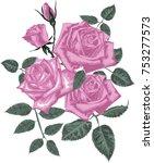 pink roses bouquet | Shutterstock .eps vector #753277573
