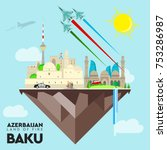 baku vector azerbaijan flag...   Shutterstock .eps vector #753286987