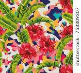hibiscus banana leaves... | Shutterstock .eps vector #753309307