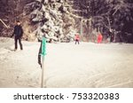 skiin rod in snow with view to... | Shutterstock . vector #753320383