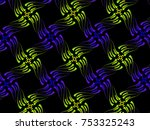 a hand drawing pattern made of... | Shutterstock . vector #753325243
