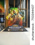 Small photo of Bangkok, Thailand - November 12, 2017: Beautiful Standee of Movie Thor: Ragnarok displays at the theater
