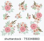 floral arrangements in small... | Shutterstock .eps vector #753348883