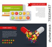 blister pack of pills with... | Shutterstock .eps vector #753354457