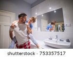charming playful love couple in ... | Shutterstock . vector #753357517