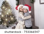happy little couple  christmas... | Shutterstock . vector #753366547