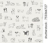 Stock vector cartoon doodle puppy dog seamless vector hand drawn pattern 753366727