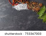 spices on the stone black... | Shutterstock . vector #753367003