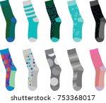 colorful socks. vector... | Shutterstock .eps vector #753368017